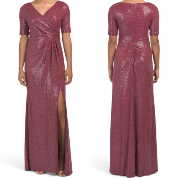 Adrianna Papell Burgundy Sequined Knit Draped Gown